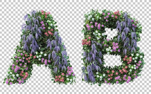 Renderowania 3d pionowego alfabetu kwiat ogród a i alfabet b na białym tle