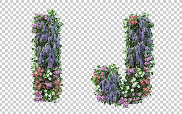 Renderowania 3d pionowego alfabetu kwiat ogród i i alfabetu j na białym tle