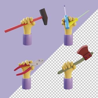 Renderowania 3d rąk trzymających młotek śrubokręt szczypce topór premium psd