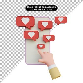 Renderowania 3d ręka dotykowy smartfon z ikoną miłości