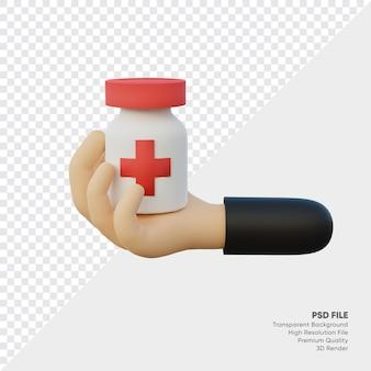 Renderowania 3d ręka z butelką leku