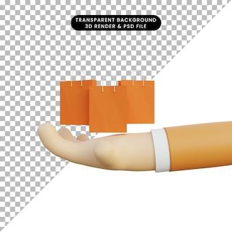 Renderowania 3d ręka z torbą na zakupy