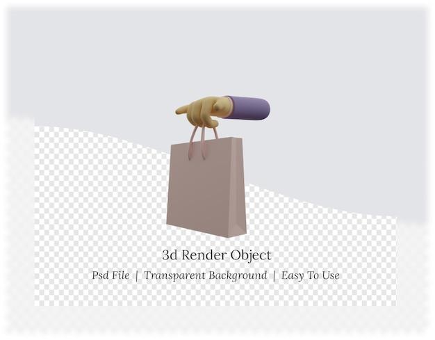 Renderowania 3d ręki trzymającej torby na zakupy