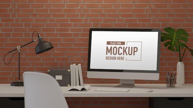 Renderowania 3d stylowy obszar roboczy z komputerowymi dostawami lampy i dekoracjami
