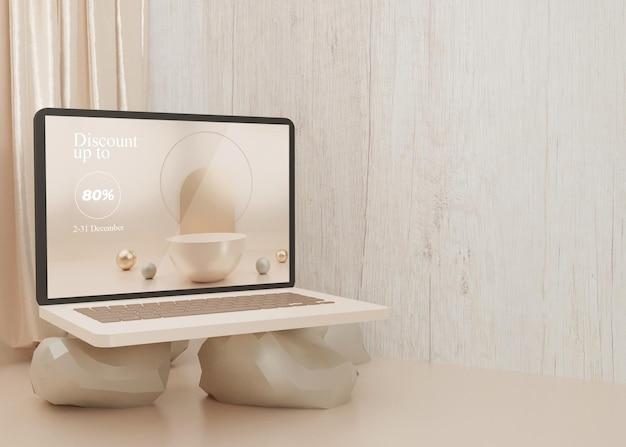 Renderowania 3d surrealistyczna platforma laptop makieta wyświetlacz pastelowy