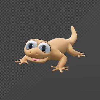 Renderowania 3d urocza jaszczurka domowa patrząca na widza