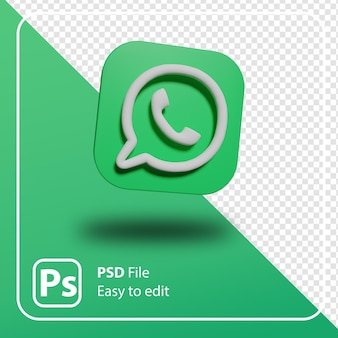 Renderowania 3d whatsapp minimal logo