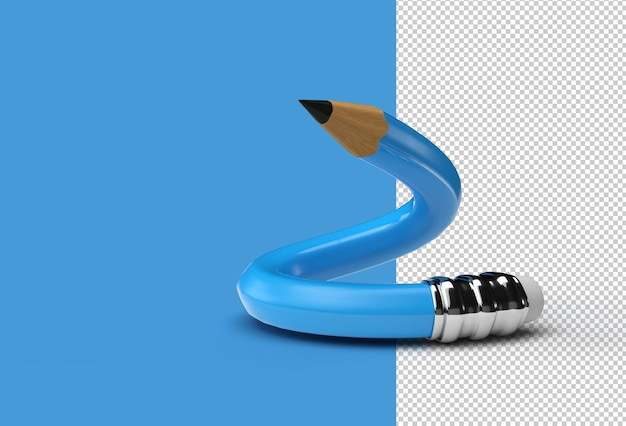 Renderowania 3d wygięty ołówek przezroczysty plik psd.