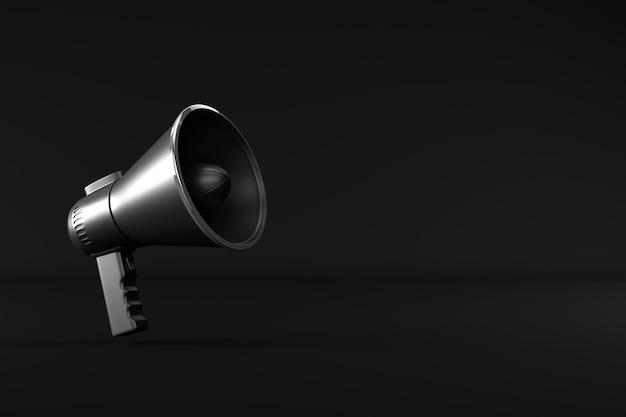 Renderowania 3d z megafonem na białym tle