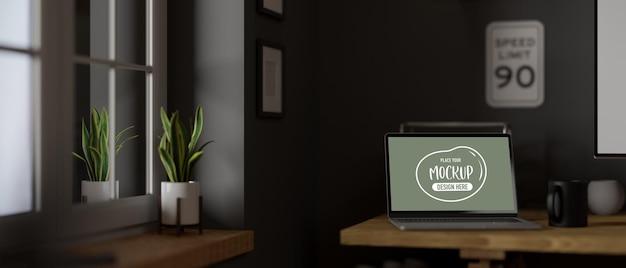 Renderowania 3d z pokoju roboczego z makietą komputera