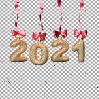 Renderowania 3d zabawek 2021 z wstążkami na białym tle
