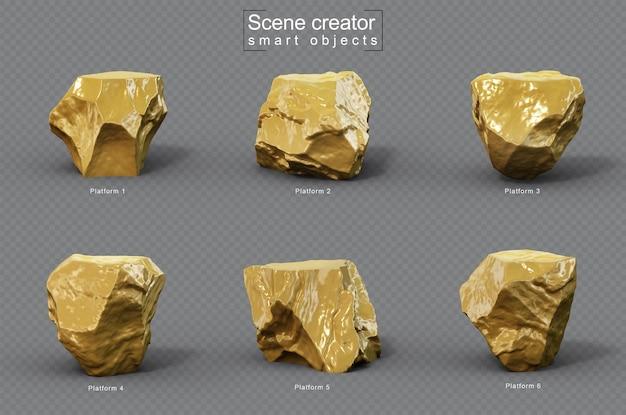 Renderowania 3d zestawu gold stone platform