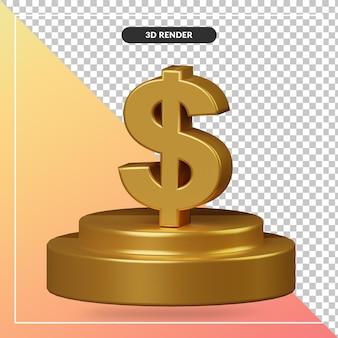 Renderowania 3d złote podium z symbolami dolara na białym tle