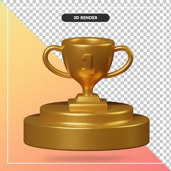 Renderowania 3d złote podium z trofeum na białym tle