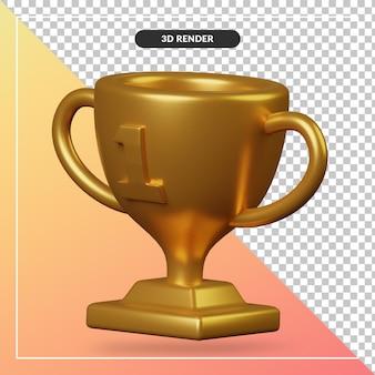 Renderowania 3d złote trofeum na białym tle