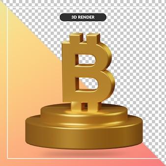 Renderowania 3d złotego podium z symbolem bitcoin na białym tle