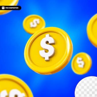Renderowania 3d żółtej błyszczącej monety na białym tle