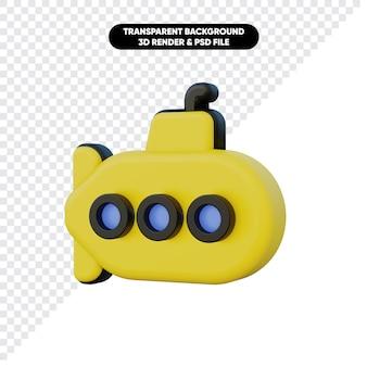 Renderowania 3d żółtej łodzi podwodnej