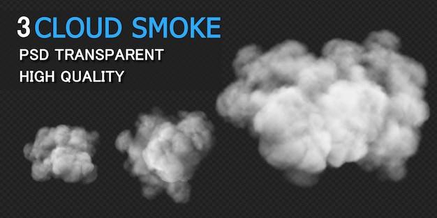 Renderowania projektu chmury dymu na białym tle