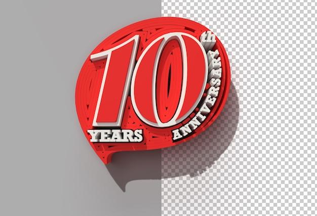 Renderowanie 3d 10-lecia rocznicy przezroczysty plik psd