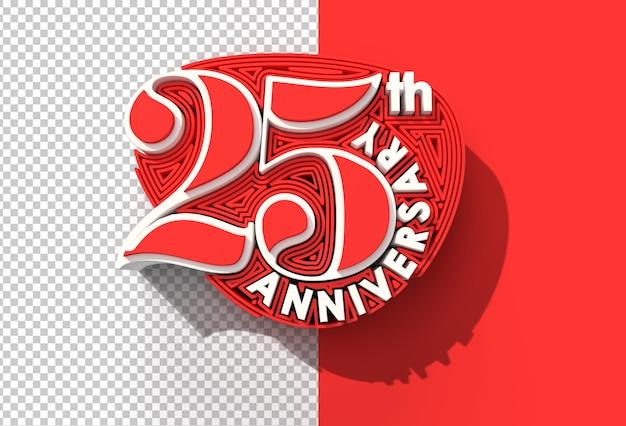 Renderowanie 3d 25. rocznica obchodów przezroczysty plik psd