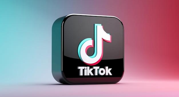Renderowanie 3d aplikacji ikony tiktok na białym tle