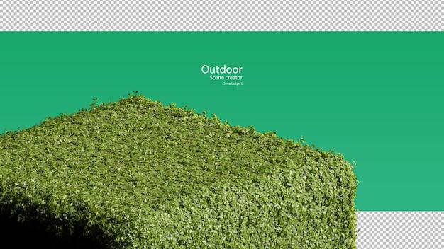 Renderowanie 3d aranżacji stoiska na trawie w kształcie okrągłego sześcianu