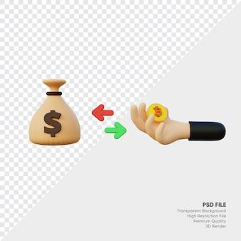 Renderowanie 3d banku worek pieniędzy z monetą w ręku
