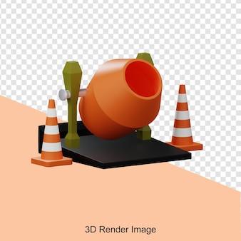 Renderowanie 3d betoniarki budowlanej