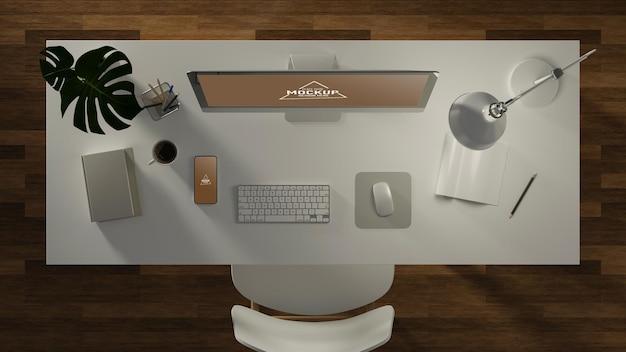 Renderowanie 3d, biurko z komputerem i materiałami biurowymi