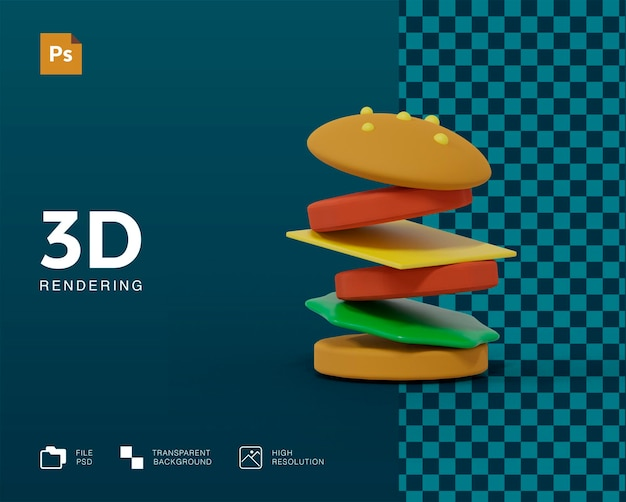 Renderowanie 3d burgera na białym tle