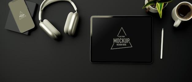Renderowanie 3d ciemny kreatywny obszar roboczy z makietą cyfrowego tabletu