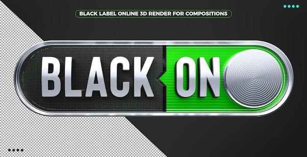 Renderowanie 3d czarne logo online do makijażu