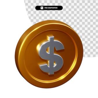 Renderowanie 3d dolara monety na białym tle