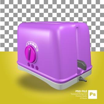 Renderowanie 3d fioletowego obiektu tostera