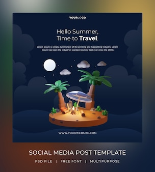 Renderowanie 3d, hello summer, szablon postu w mediach społecznościowych, noc tematyczna z drzewem kokosowym i ogniskiem