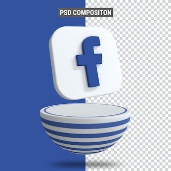 Renderowanie 3d ikony facebooka na podium w niebieskim blasterze