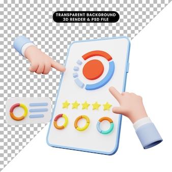 Renderowanie 3d ilustracji interfejsu użytkownika na smartfonie