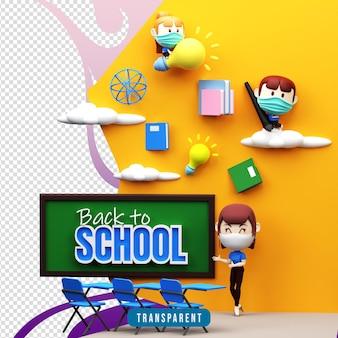 Renderowanie 3d ilustracji z powrotem do szkoły