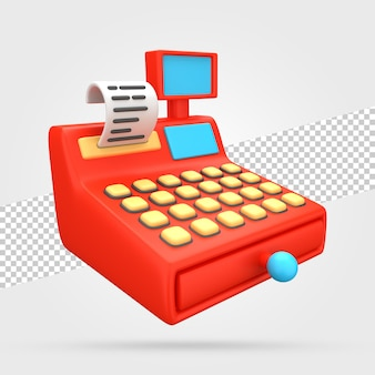 Renderowanie 3d Kasy Fiskalnej Premium Psd