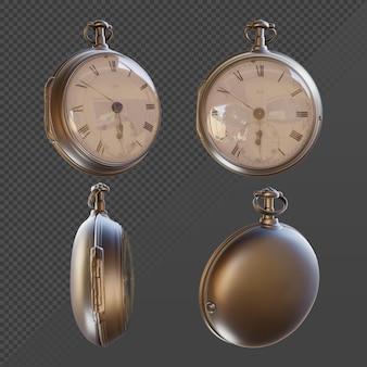 Renderowanie 3d klasycznego zegarka z chronometrem z różnych perspektyw