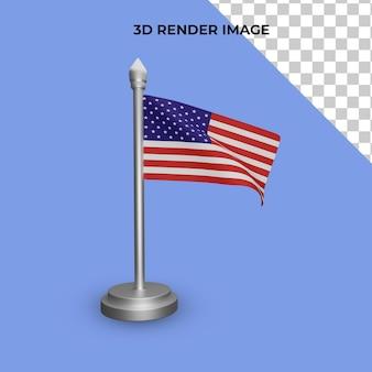 Renderowanie 3d koncepcji dnia niepodległości flagi amerykańskiej