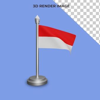 Renderowanie 3d koncepcji flagi indonezji święto narodowe indonezji premium psd
