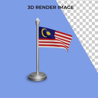 Renderowanie 3d koncepcji flagi malezji malezja święto narodowe premium psd