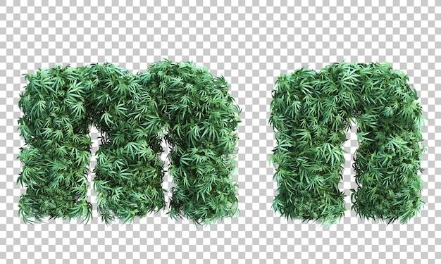 Renderowanie 3d konopi indyjskich litera mi litera n