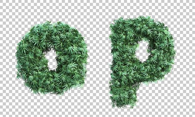 Renderowanie 3d konopi indyjskich litera o i litera p