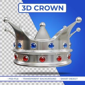 Renderowanie 3d korony king silver color z klejnotem