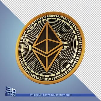 Renderowanie 3d kryptowaluta monety black gold ethereum na białym tle