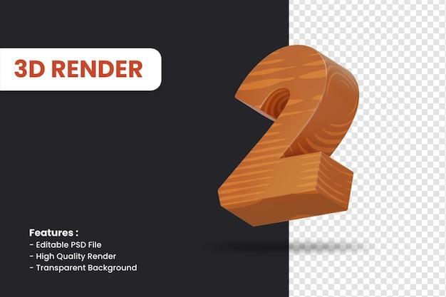 Renderowanie 3d liczby 2 z efektem tekstury drewna na białym tle