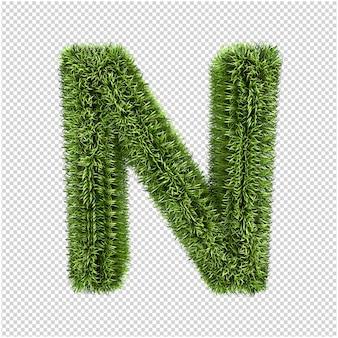 Renderowanie 3d liter z zielonej trawy